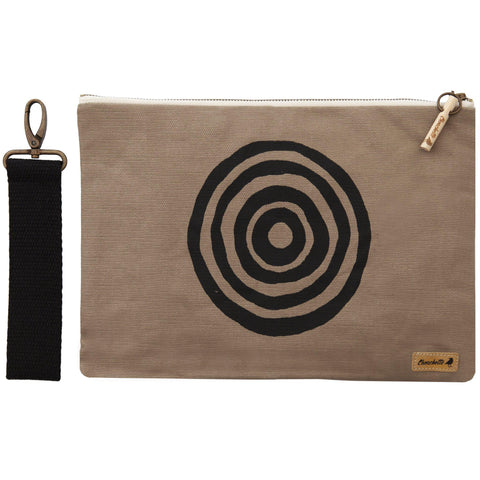 Beige 'Time' iPad sleeve, clutch with the detachable, black, cotton wristlet - Devrim Studio