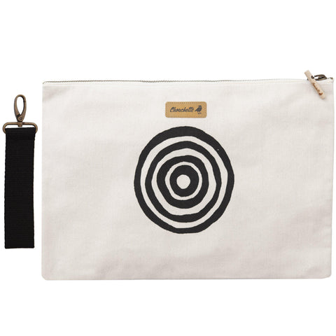 White 'Time' Laptop Sleeve Clutch with it's detachable, black, cotton wristlet - Devrim Studio
