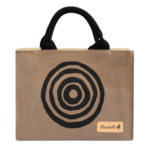 Beige 'Time' Mini Tote Bag that converts into a shoulder bag or a crossbody bag - Devrim Studio