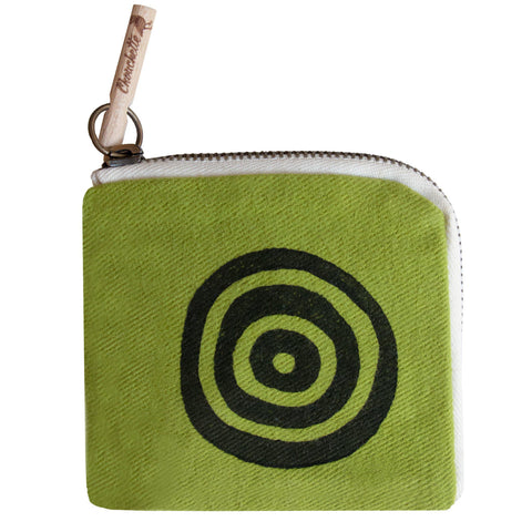 Green 'Time' Slim Wallet Purse - Devrim Studio