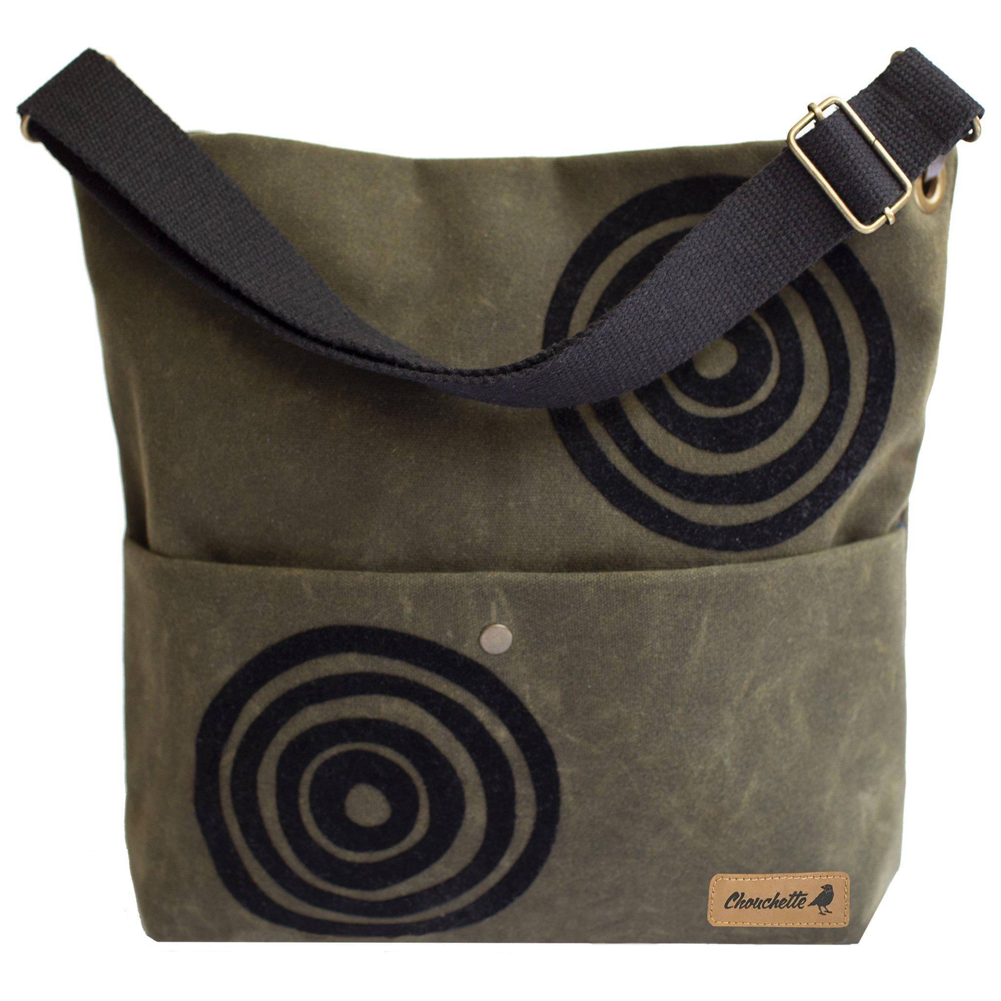 Khaki green 'Time' waxed canvas shoulder bag that converts into a crossbody bag - Devrim Studio