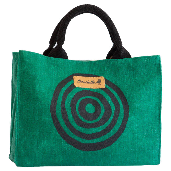 Green 'Time' Waxed Canvas Mini Tote Bag-Devrim Studio