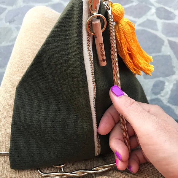 Waxed Canvas Ursula chain bag photographed on my lap.