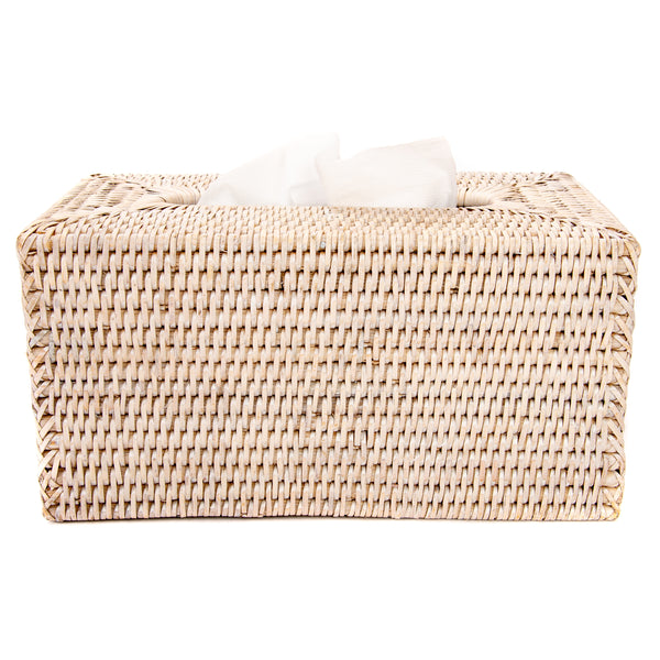 Rectangular Tissue Box Cover White Wash