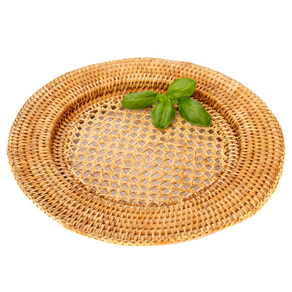 rattan chargers honey brown