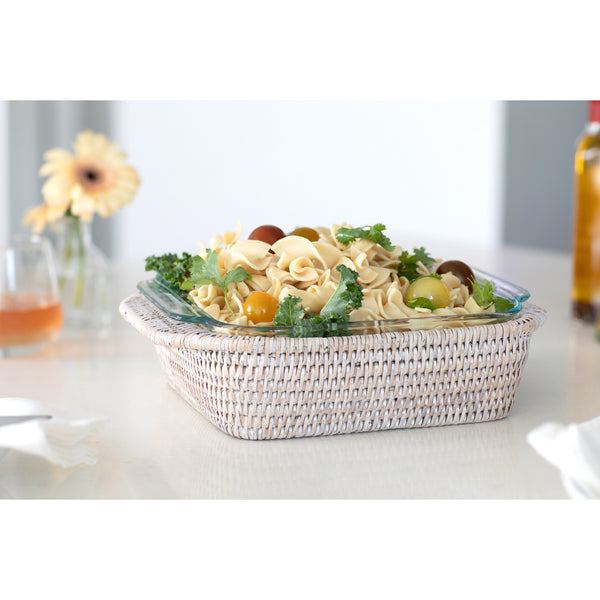 Square baker basket with pyrex White Wash