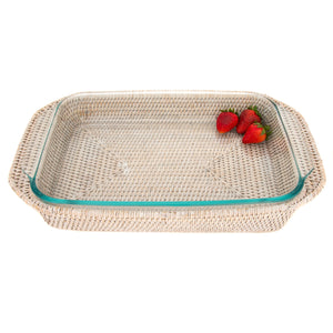 "Rectangular Baker Basket with Pyrex - 13"" Inches"