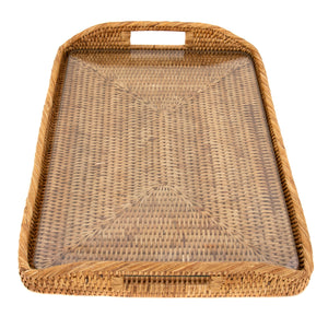 Rectangular Tray with Glass Insert Honey Brown