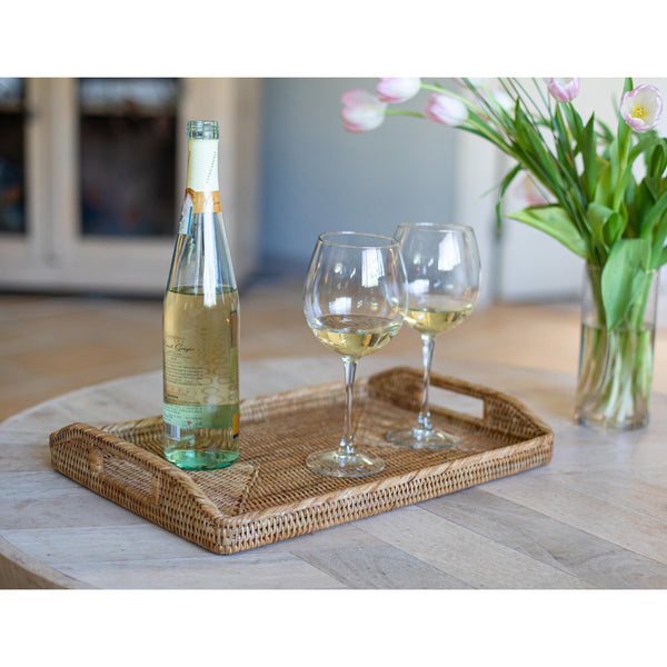 Rectangular Serving Tray With High Handles
