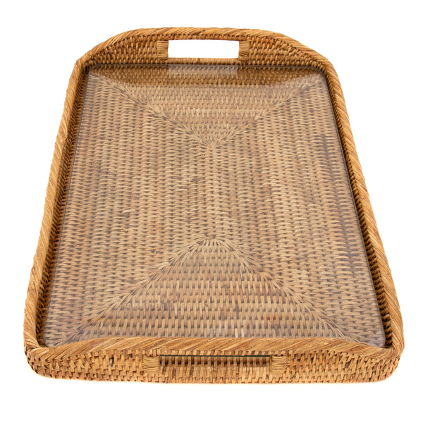 14-Inch Rectangular Tray with Glass Insert Honey Brown