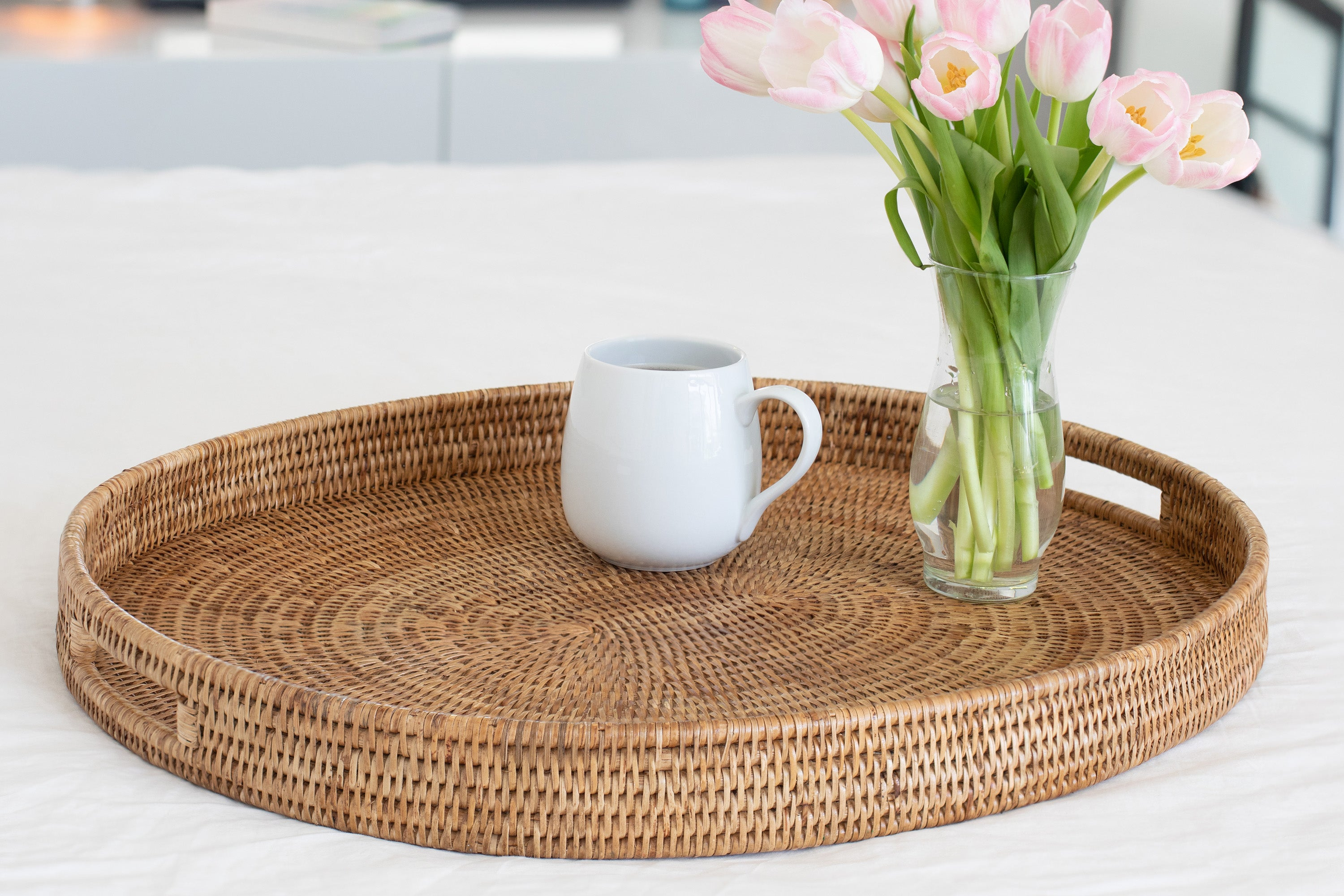 Oval Ottoman Tray With Cutout Handles