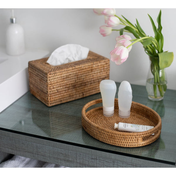 Oval Vanity Tray Honey Brown