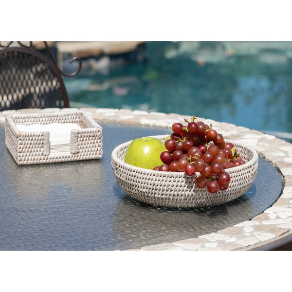 Rattan bowl multiuse white wash