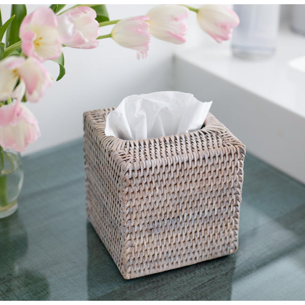 Column Tissue Box White Wash
