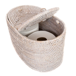 Oval Double Tissue Roll Box White Wash