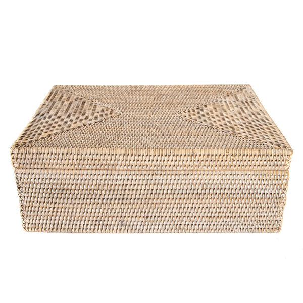 Square Storage Box with Lid White Wash