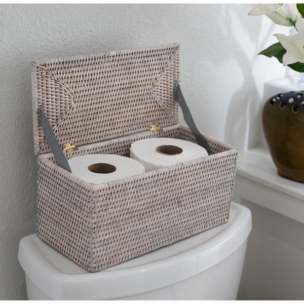 Rectangular Double Toilet Roll Holder with Hinged Lid