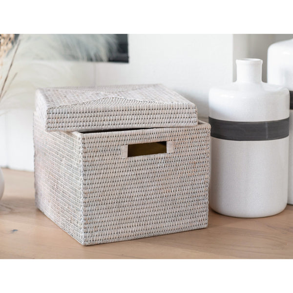 Storage box with lid White Wash