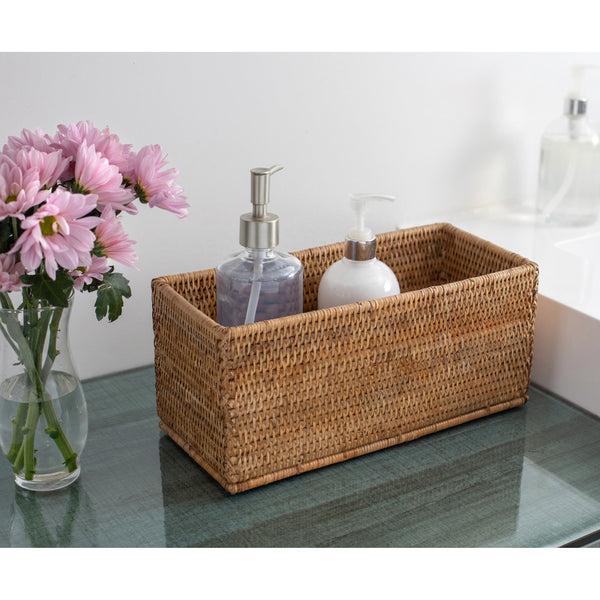 Rectangular petite storage basket Honey brown