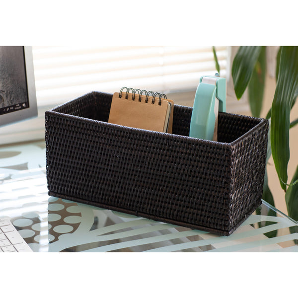 Black Tudor Rectangular petite storage basket