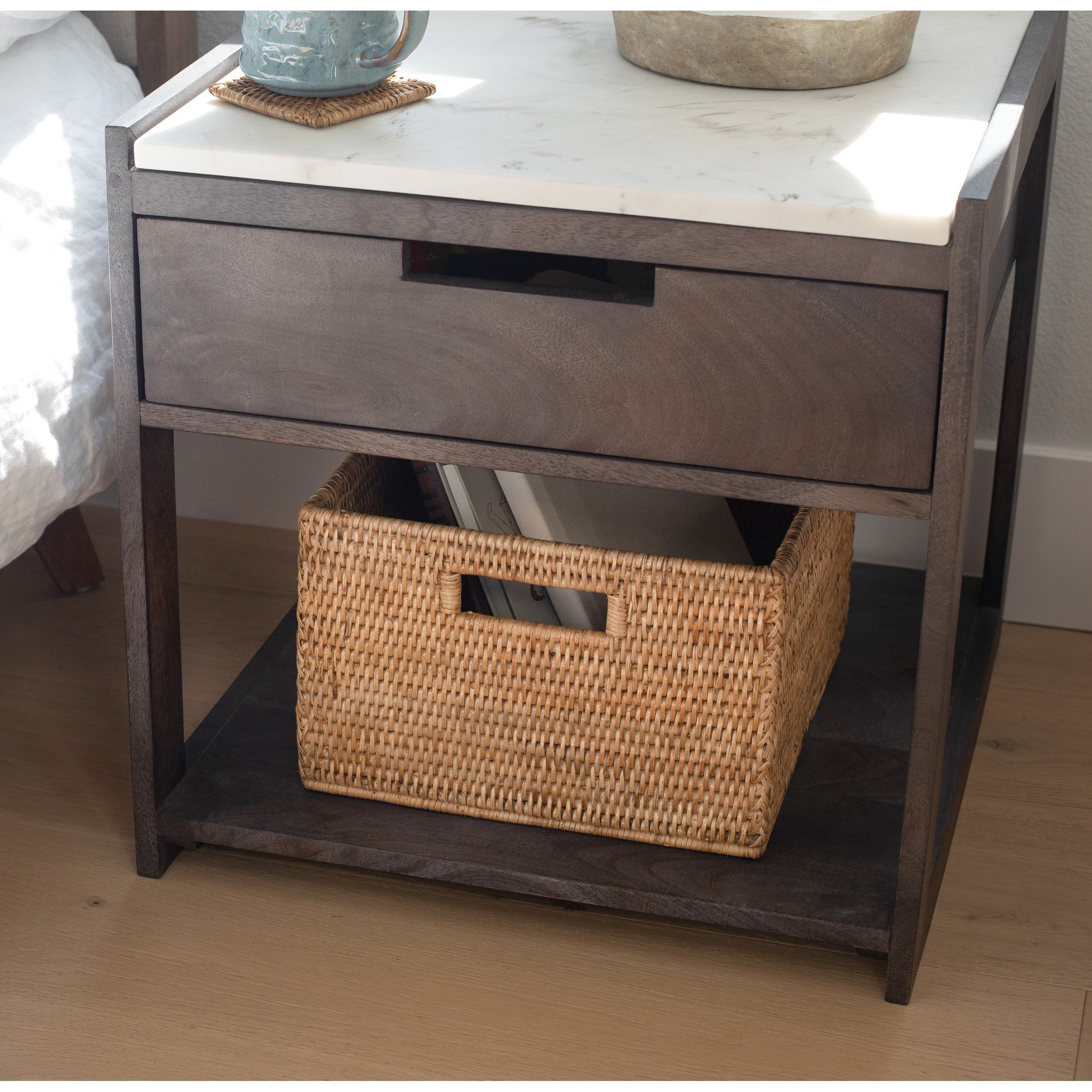 Square Storage Basket With Handles Honey Brown