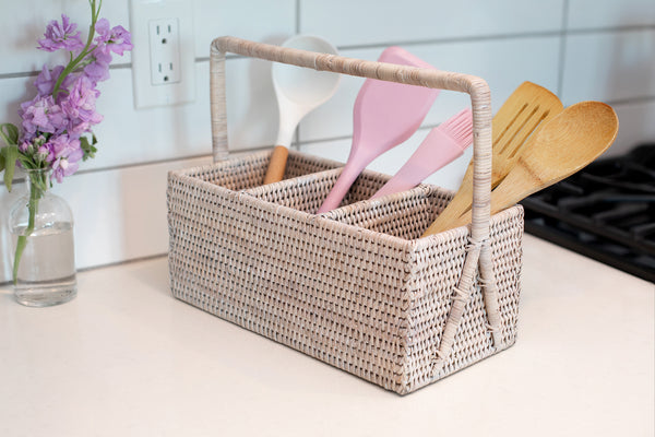3 Section Caddy/Cutlery Holder with Handle