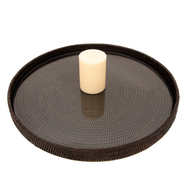 Round Serving-Ottoman Tray with Glass Insert