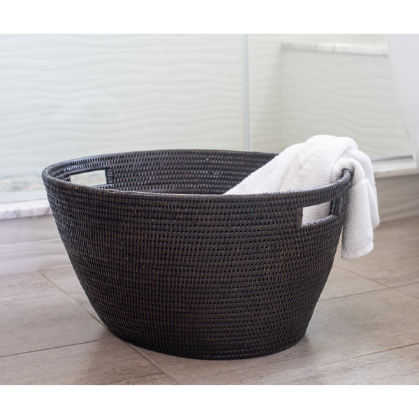 Tudor Black Rounded Laundry Basket with Cutout Handles