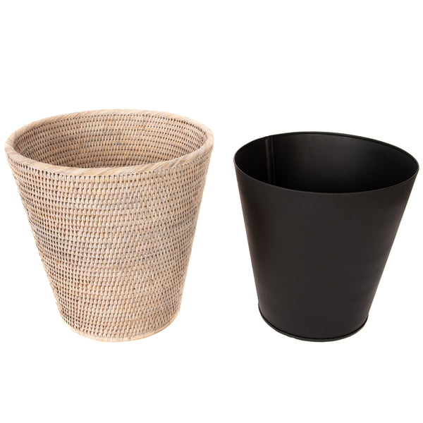 Round Tapered Waste Basket with Metal Liner