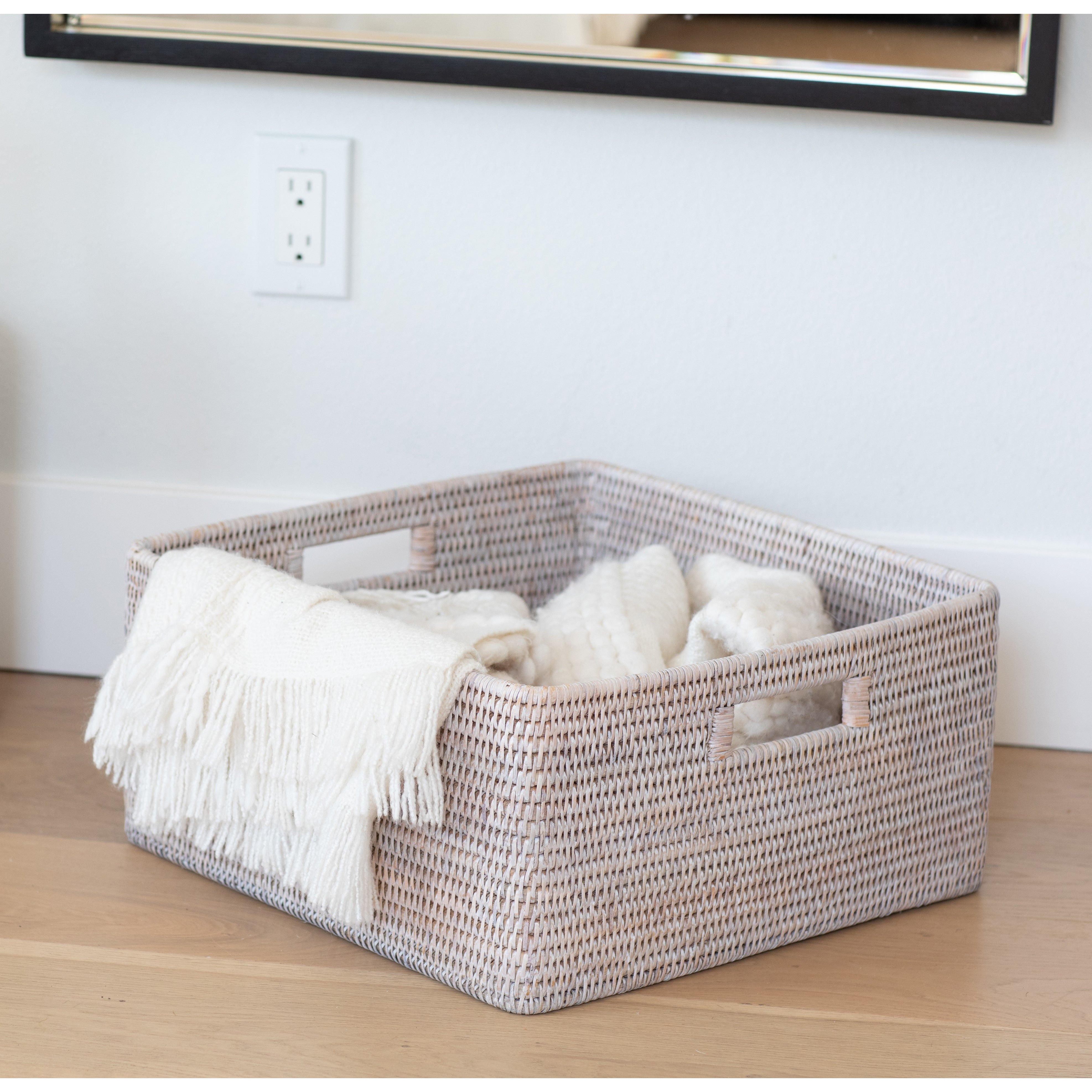 Square storage basket with rounded corners white wash
