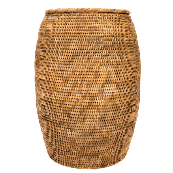 End Table/Hamper with Lid Honey Brown