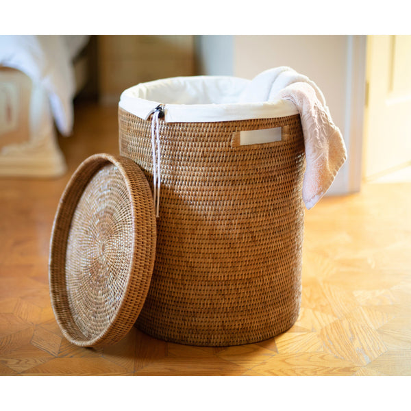 Round Hamper with Lid Honey Brown