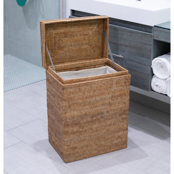 Rectangular Hamper with Hinged Lid & Cloth Liner