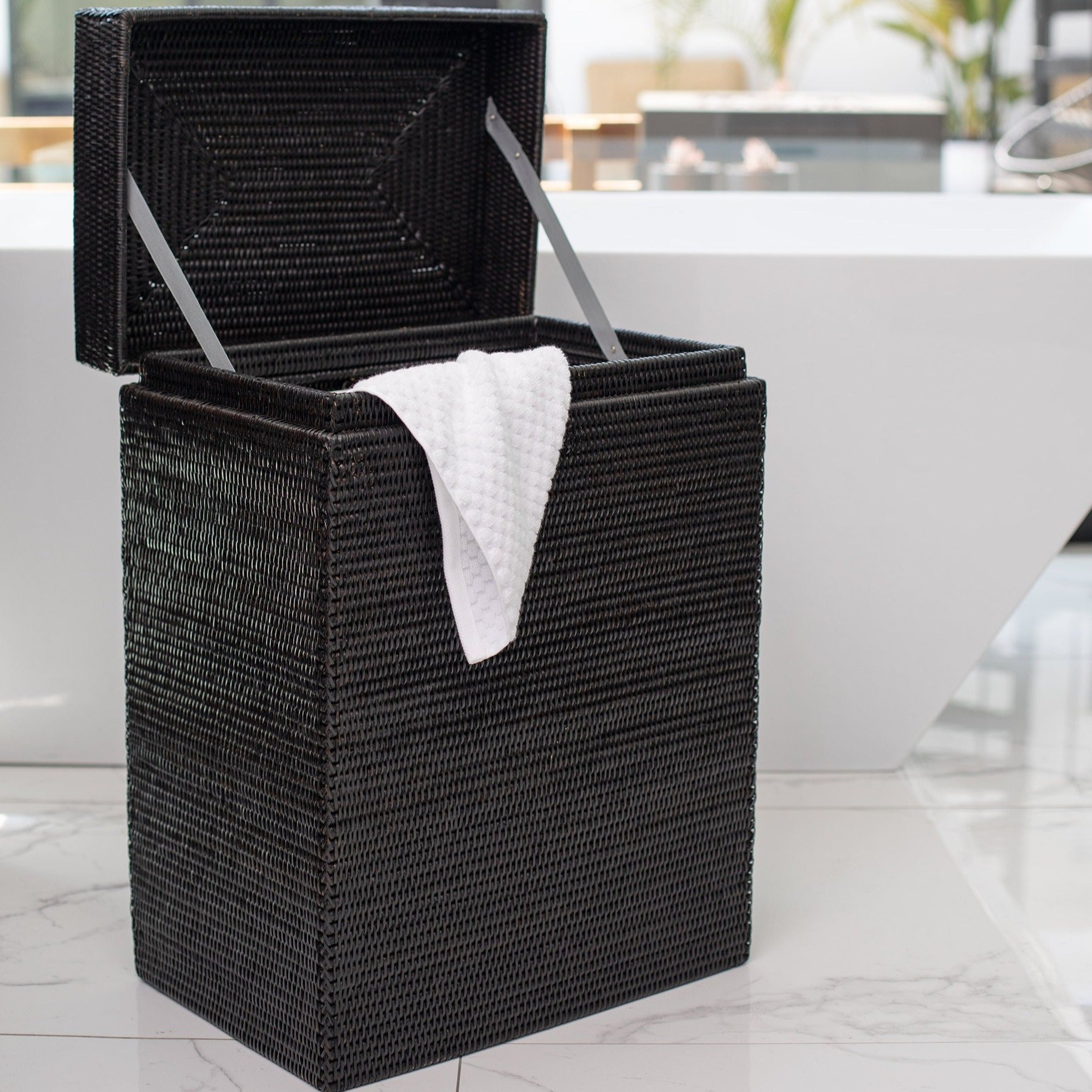 Rectangular Hamper with Hinged Lid Tudor Black