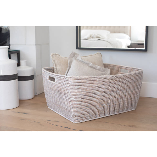 Woven Storage Family Basket white wash