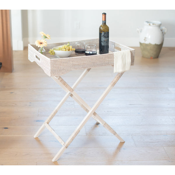 Rattan Table White Wash