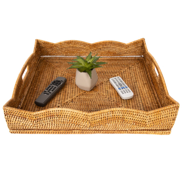 Scallop Collection Square Tray With Cutout Handles