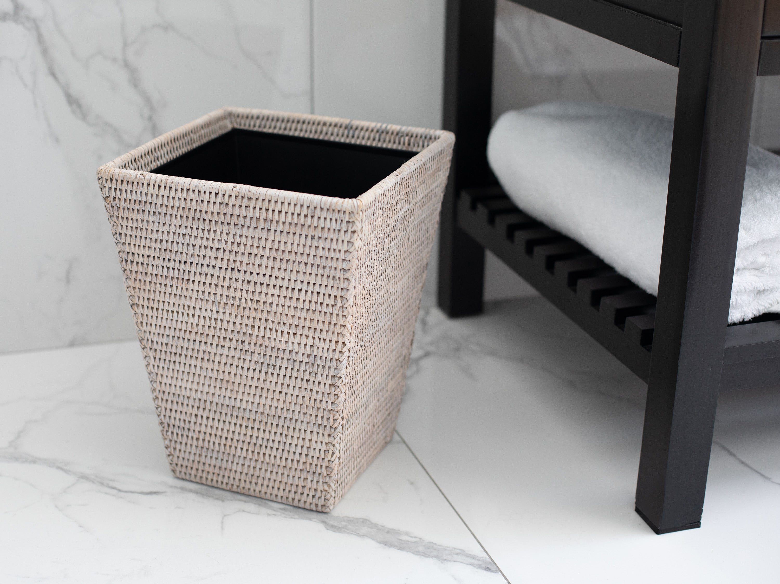 Square Tapered Waste Basket with Metal Liner