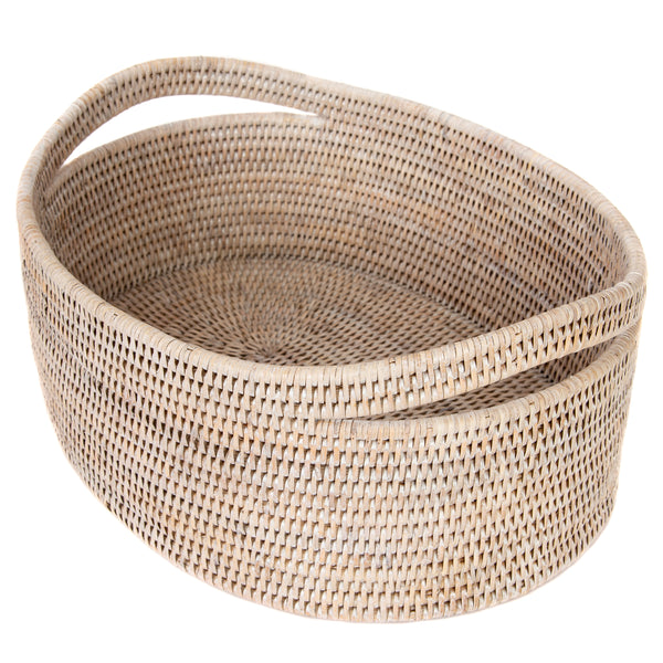 Oval Basket White Wash