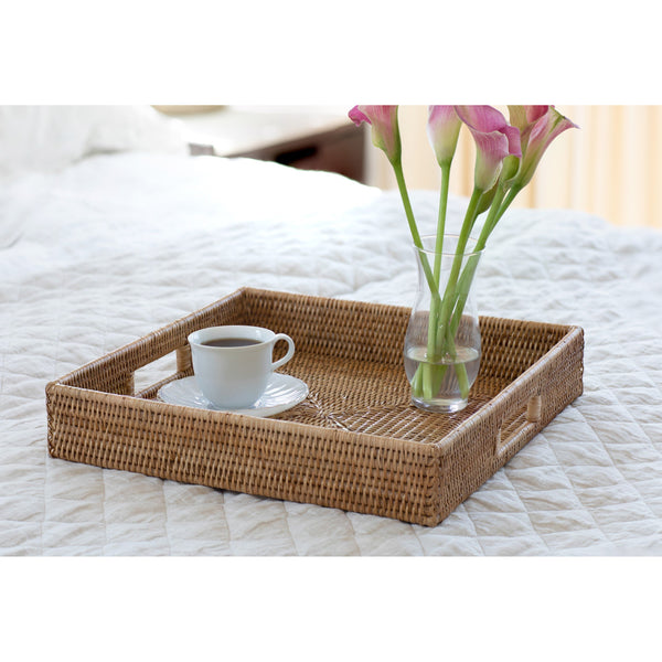 Square Ottoman Tray with Cutout Handles