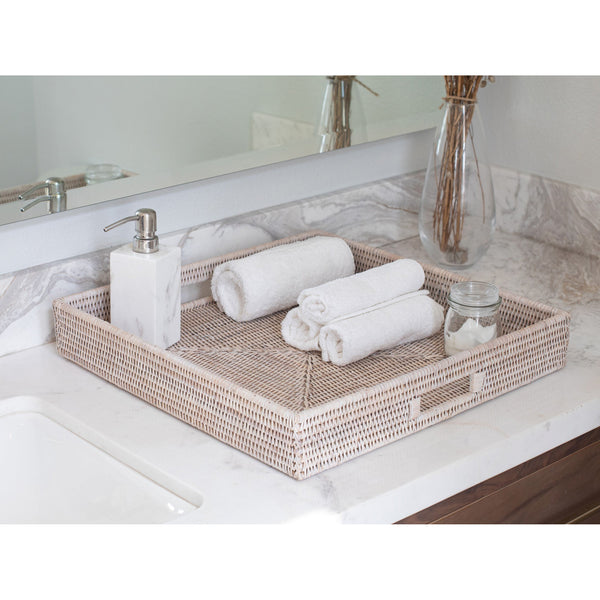 White Wash Square Ottoman Tray with Cutout Handles