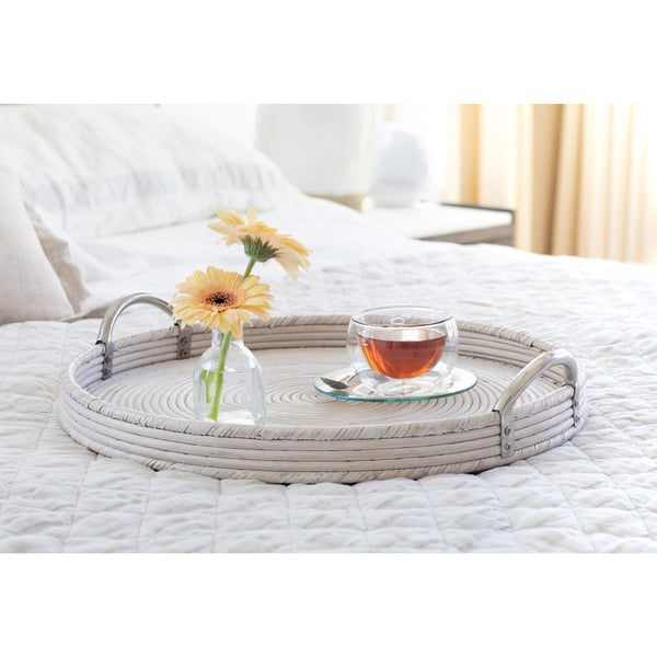 Round Tray with Stainless Steel Handles