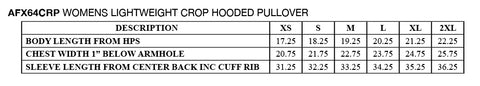 Cropped Hoodie Size Chart