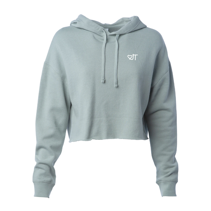 Light Weight Sage Cropped Hoodie