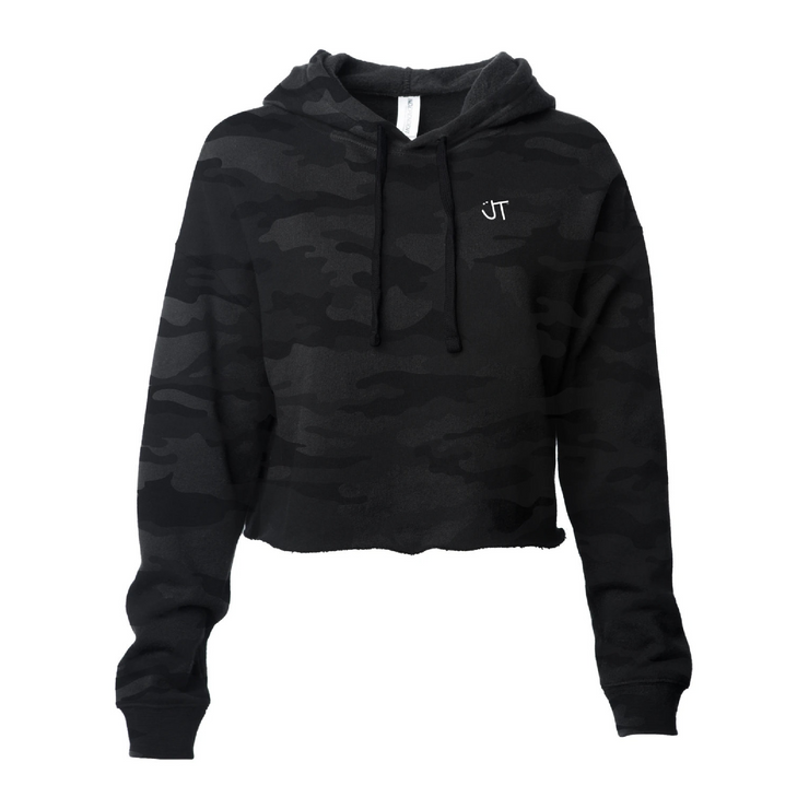 Light Weight Black Camo Cropped Hoodie