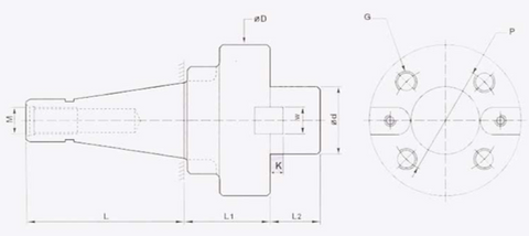 STUB MILLING ARBOR FLANGE TYPE DIMENSION DIAGRAM