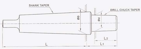 MT Drill Chuck Arbor Dimension Diagram RR Brand