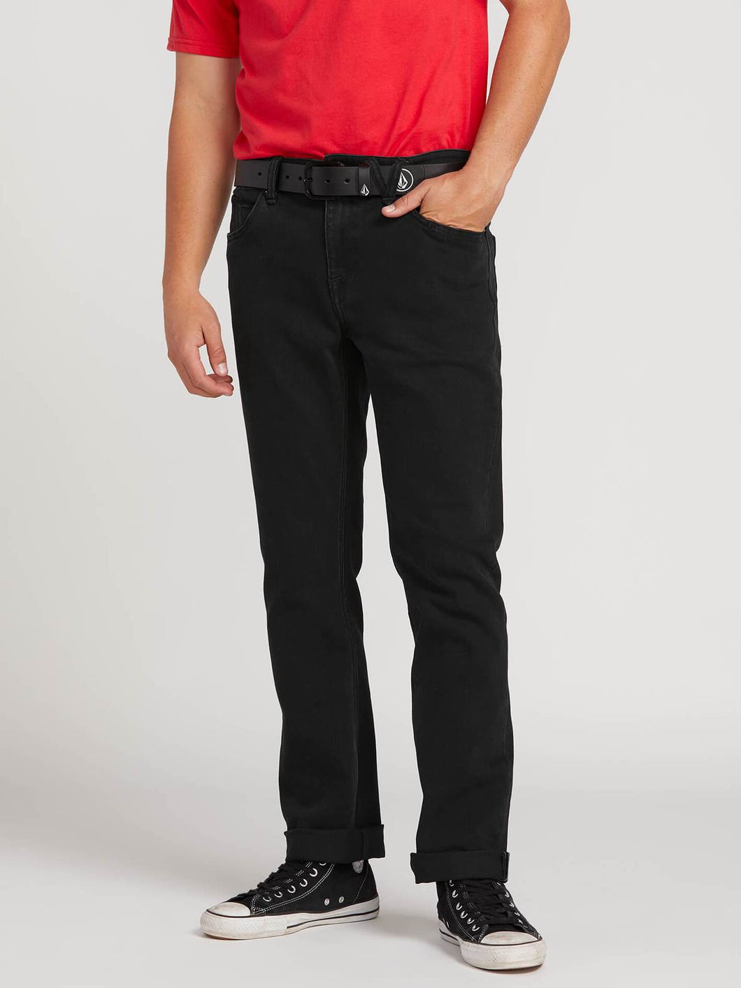 Volcom Solver Modern Straight Denim Jean in Blackout