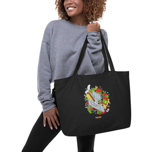 """Food is Delicious"" Large Organic Tote Bag"