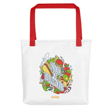 "Load image into Gallery viewer, ""Food is Delicious"" Picnic Tote"